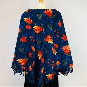 Sweaters - Handmade Poncho Fall Colored Leaves Fringed